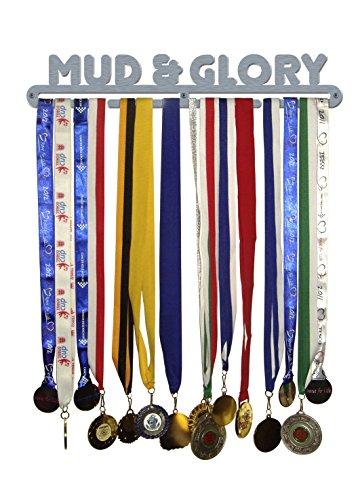 'MUD & GLORY' Medaille Aufhänger Display Halter Edelstahl gebürstet-Made in Großbritannien -