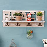 LF DD Vintage Rack Flower Regal mit Haken Speichereinheit American-Stil Dorf Wall Locker Wandschrank für Wohnzimmer Küche aus Holz, creme-weiß (19.7 * 4.3 * 7.9 Zoll)