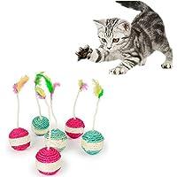 Fossrn 1PC Juguete de Gato Mascota Sisal Pelotas con Plumas Rasguño del Juguete del Gato Gatito Divertido Jugar muñecas Juguetes interactivos (01)