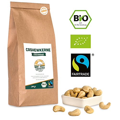 Bio Fairtrade Cashewkerne: Naturbelassen (700g) (Rohe Bio Mandeln)