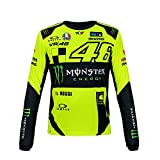 2018 VR46 Valentino Rossi # 46 MotoGP Herren T-Shirt Tee Monster Energy Long Sleeve, gelb/schwarz, Mens (S) 98cm/39 Inch Chest