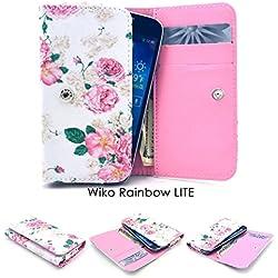 ZeWoo Etui / Portefeuille en Similicuir Pour Wiko Rainbow Lite (5 Pouces)(Non Compatible Avec Wiko Rainbow 3G / 4G Normal) Coque Housse Protecteur - (5#) Rose (Blanc)