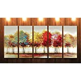 SAF 5 Panel Trees Ink Painting (Synthetic, 24 inch x 50 inch, SONFL7914, Set of 5)