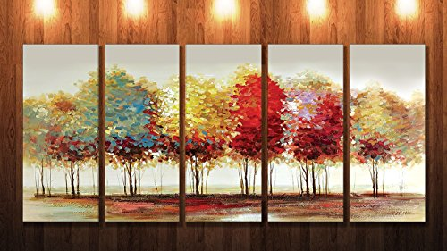 SAF PREMIUM LARGE 5 PANEL TREES Ink Painting  (24 inch x 50 inch)
