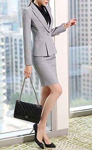 SK Studio Femmes Blazer Tailleurs Pantalons De Bureau 2 Pièces Revers Casual Costume Manteau Gris clair Blazer +Jupe