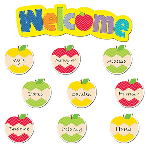 Creative Teaching Press 6794 Bordüre, gewellt, Grün HexaFun Welcome Apples Mini Bulletin Board Set Mehrfarbig