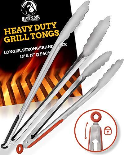Pinze Barbecue in Acciaio Inox | Robuste Pinze da Cucina (Set di 2 Pinze Lunghe 30 e 40 cm) | Utensili Multiuso per Grigliate di Carne, Pollo e Insalate | Accessori di Qualità con Garanzia a Vita
