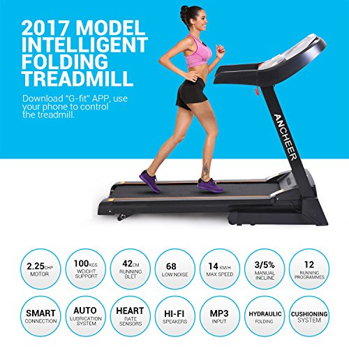 51qQBS05IML. SS500  - ANCHEER S8500 Treadmill APP Control, New Electric Motorised Treadmill Machine Folding Running Machine with 2 Levels Manual Incline
