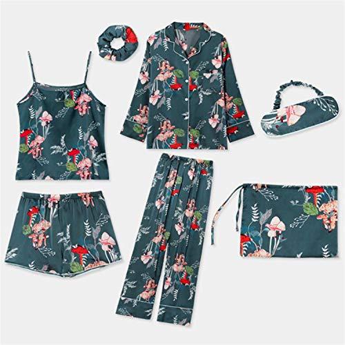 t 7 Stücke Set Silk Elegante Frauen Pyjamas Print Silk Shorts Langarm Top Elastische Taille Hosen Silk Lounge Pijamas ()