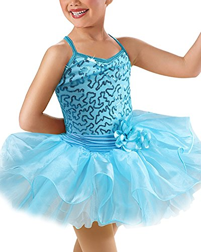 OBEEII Mädchen Ballettkleid Kinder Pailletten Ballettanzug Ärmellose Tütü Röckchen Tanz Kostüm 8-9 JahreBlau