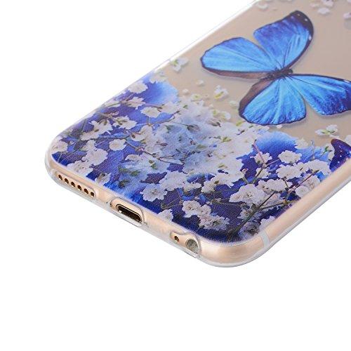 iPhone 6/6S Plus 5.5 Inch Case,Feeltech |Gratuit Stylet| Premium Slim Coque TPU Gel Ultra Mince Étui Protecteur Housse Clair Nouveau Collection Avec Silicium Colorée Dessin Motif Protection Couverture Fleur de papillon