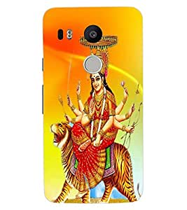 ColourCraft Maa Sherawali Design Back Case Cover for LG GOOGLE NEXUS 5X