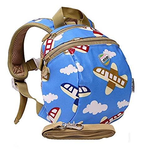 Moonwind Waterproof Kids Toddler Harness Backpack Children Baby Safety Bag with Leash (Airplane)