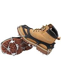 Schuhspikes, Terra Hiker Schuhkrallen mit 18 Zähnen, Steigeisen mit Edelstahlspikes für Bodenhaftung auf Eis und Schnee