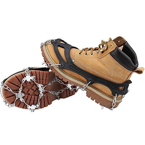 Schuhspikes, Terra Hiker Schuhkrallen mit 18 Zähnen, Steigeisen mit Edelstahlspikes für Bodenhaftung auf Eis und Schnee, M