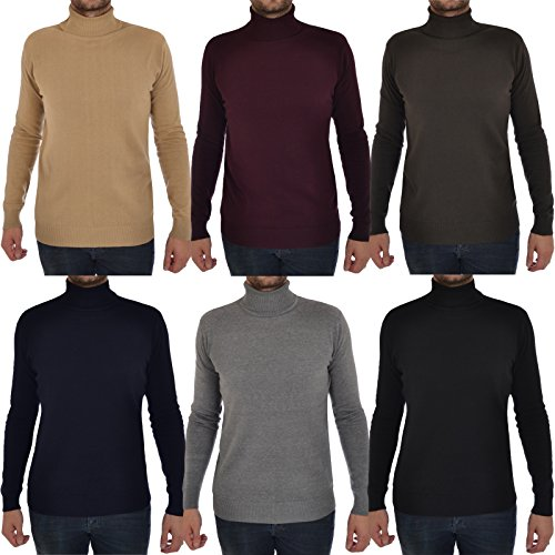 Mens Brave Soul Hume Designer Funnel High Roll Neck Cotton Knitted Jumper 10