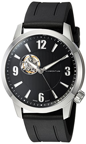 Momentum Men's Analog Automatic-self-Wind Watch with Rubber Strap 1M-SN90BS1B
