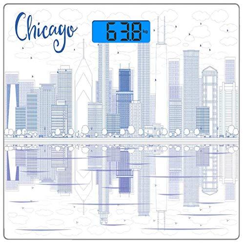 Digitale Präzisionswaage für das Körpergewicht Chicago Skyline Ultraflache Personenwaage aus gehärtetem Glas Genaue Gewichtsmessungen, Wolkenkratzer Reflexion über Lake Michigan USA Stadtarchitektur-D