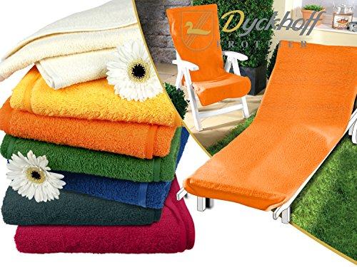 Schonbezug für Gartenstuhl & Gartenliege aus dem Hause Dyckhoff - erhältlich in 7 sommerlichen Farben - mit Kapuze für besseren Halt, Gartenstuhl (60 x 130 cm), orange