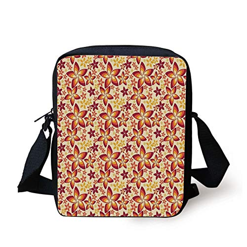 LULABE Burnt Orange,Big and Small Ornate Floral Patterns on Plain Background Royal Decor Art Decorative,Burnt Orange Yellow Print Kids Crossbody Messenger Bag Purse -