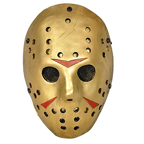 Black Friday exklusiv | CCOWAY Kostüm Prop, Jason Voorhees Maske für Freddy Hockey Festival, Halloween, Party, Cosplay und mehr (Gold) (Gold-hockey-maske)
