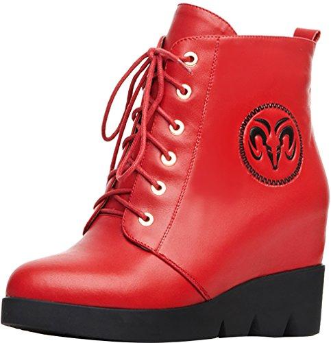 ELEHOT Donna Eleadmission zeppa 6.5CM Leather Stivali, rosso,