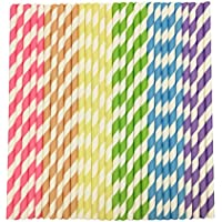 Straws Paper 150Pcs with Recycled Packaging Biodegradable Bulk Drinking Straws Decorations for Party Birthday Wedding Baby Shower Valentine in Bright Rainbow Lollipop Multi-Color