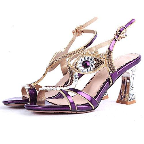 Damen Sommer Sandalen High-Heel Blockabsatz Kristall Kuhleder Schnalle Violett