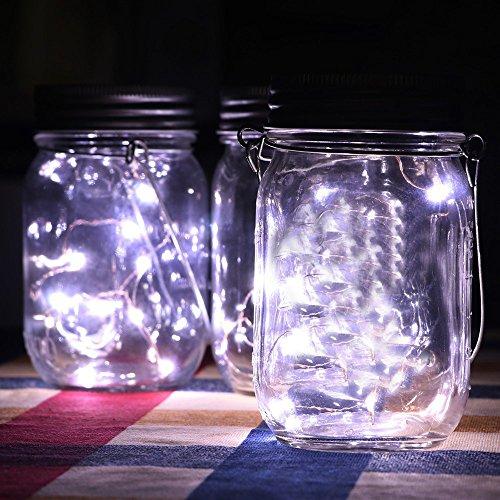 1pc Solar Mason Jar Deckel für 7 cm gemeinsamen Einmachglas, Zhen+ Mason Jar Licht Solar LED leuchte Hängeleuchte, Solar Outdoor Laterne Dekoration für Zuhause Party Garten Hochzeit (KaltWeiß, 1M) -