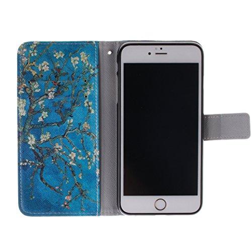 iPhone 6 Hülle,iPhone 6 Case [Perfect Fit], ISAKEN Zeichnung Drucken Bunte Muster PU Leder Flip Magnetverschluss Wallet Kreditkarte ID Card Slots Handy Hülle für iPhone 6, Tasche für iPhone 6, Muster  Blue Plum Flower Tree