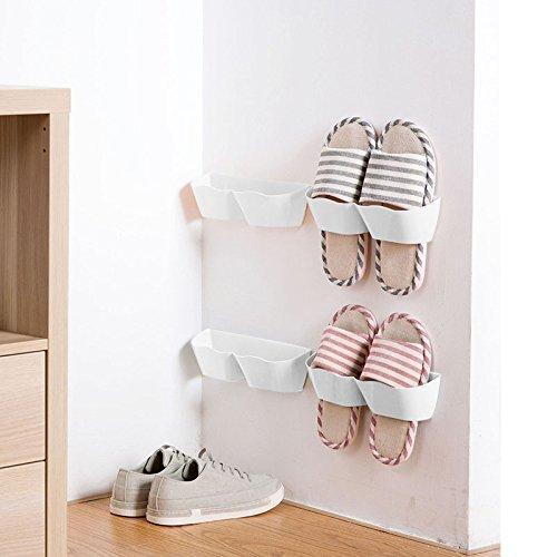 meoly Set von 4Home Schuh Regal Kunststoff Wand montiert Schuhe Rack für Diele über der Tür Schuh Kleiderbügel Organizer zum Aufhängen Schuh Regal weiß - 4 Regal Space Saver