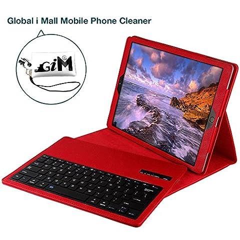 iPad Pro 12.9 Bluetooth Tastatur, G-i-Mall Rot Ultradünn leicht Bluetooth Keyboard Case Flip Leder Schutzhülle Tasche Abnehmbar Drahtloser Bluetooth Tastatur Hülle für Apple ipad Pro 12.9 Zoll Tablet PC