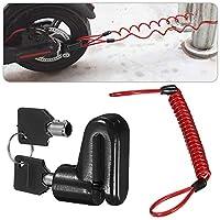 urbetter Brake Lock Anti-theft Steel Wire Lock for Mijia M365 Motorcycle Bicycle Wheels Locker With Reminder Rope (Black+ Reminder Rope)