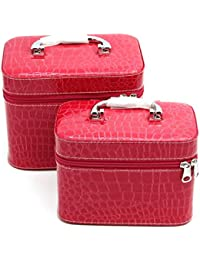 Rose Red : HOYOFO 2-Piece Stone Texture Cosmetic Train Case Set Makeup Bags With Mirror,Rose Red
