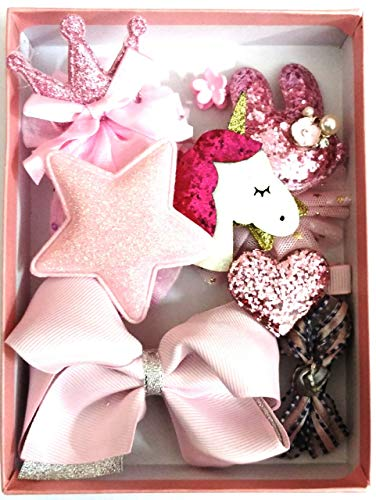 Cuty Kraft Lovely Baby Girl 11 pcs hair clip set with box - pink