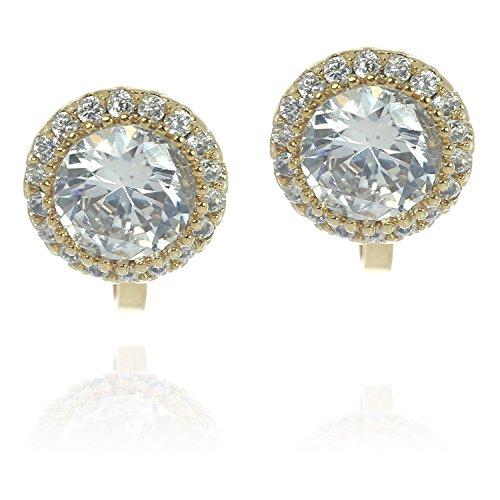 Idin Jewellery - Brilliant Zirkoniakristalle Ohrclips mit Halo, Vergoldet