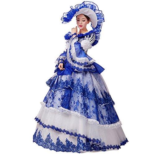 Cosplayitem Layered Viktorianischen Kleid Palace Maskerade Kleider Kostüm für Damen Mädchen Set von Kleid Hut Petticoat Version II Blau