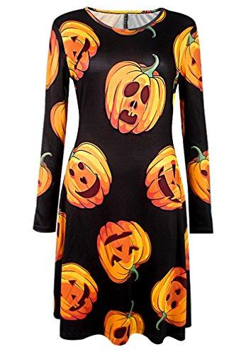 Damen Halloween Kleid mit Druck Kürbis/ Schädel/ Fledermaus/ Ghost Halloween Kostüm Lange Ärmel Rundhals Partykleider Tunika Swingkleider (Kostüme Haloween Frauen)
