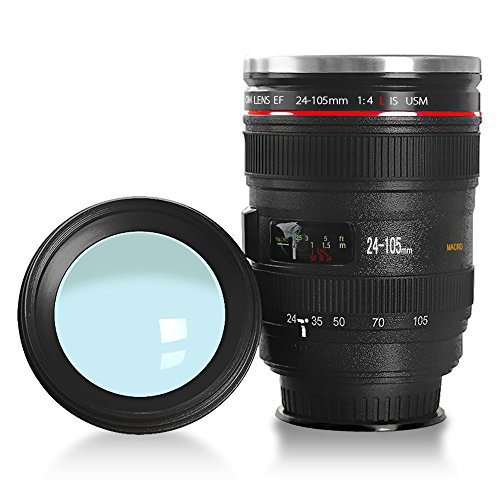 LanChuon Taza de la lente de la cámara con ventosa  taza en forma de objetivo EF24 105mm  estable pero fácil de recoger  el interno es de acero inoxidable y regalo perfecto para un amante de la fotografía