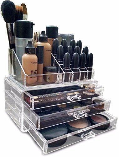 Oi Labels™ Acrylique Transparent Maquillage/Produits de Beauté/Bijoux/Vernis à Ongles Organiseur Présentoir (avec Haut Grade 3mm Acrylique) en Boîte Cadeau