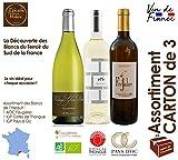 Assortiment de 3 Vins Blancs 2018 - AOC Faugères BIO, IGP Pays d'OC et IGP Cotes de Thongue 75 cl - Vin du Sud de la France Languedoc Hérault