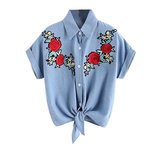 VENMO Frauen Bluse Damen Rosenblütenblusen Kurzarm-Shirt Frauenhemd Blue