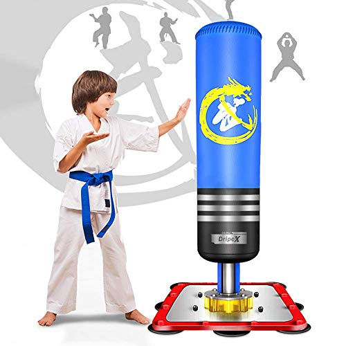 Dripex Boxsack Kinder Freistehender Standboxsack MMA Boxpartner Boxing Trainer Heavy Duty Boxsack mit Saugfuß, mehrere Farbe (120cm/47 Blau)