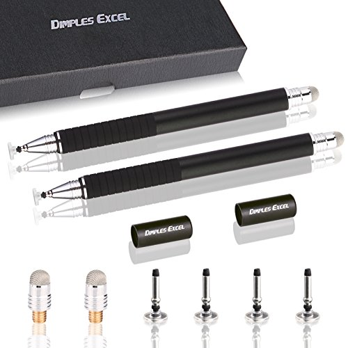 Dimples Excel Precisión Extrema Disco Stylus Bolígrafo Digital Lápiz Digital para iPad Air Pro, iPhone, Kindle Fire,Teléfono Tableta Tablet Dispositivos de Pantalla táctil (Negro + Negro)