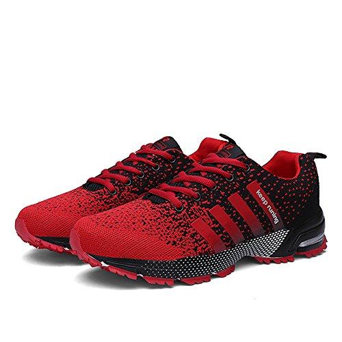 Sollomensi Zapatillas Deporte Hombre Mujer Running Deportivas Zapatos para Correr Padel Casual EU 38 Rojo