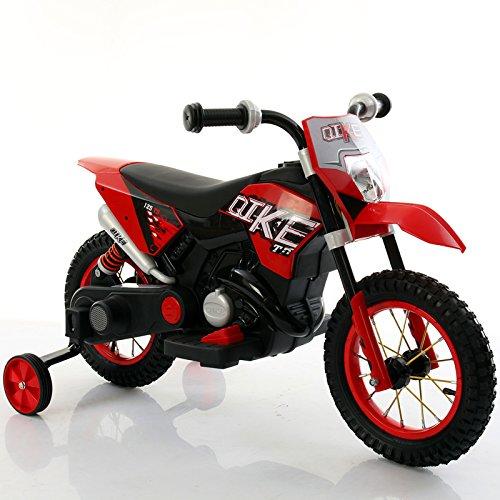 Elektro-Cross-Motorad rot elektrisches Spielzeug für Kinder, mit Rädern aus Gummi