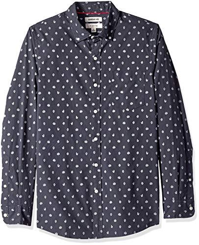 Goodthreads Herren Slim-Fit-Hemd aus Popeline mit langen Ärmeln und Print, Blau (navy heather leaf print), Gr. X-Large -
