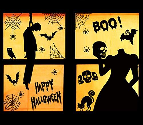 3omething Halloween-Fensterdekoration, Spinnennetz, Fledermaus, Schwarze Katze, Geister, Party, Spukhaus, 53 Stück