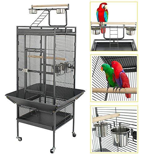 YOUKE Gabbia Voliera Grande per Uccelli Pappagalli Calopsita in Metallo e Legno con Ruote Giocattolo da Interno e Esterno Nera