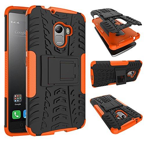 GARITANE Lenovo A7010 Hülle Case Hybrid 2in1 Defender Schutzhülle Rugged Armor Dual Layer Back Cover mit Ständer für Lenovo A7010 (Orange)